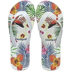 Desigual Shoes (Flip Flop_Tropical), Chanclas para Mujer, (Blanco 1000), 40 EU