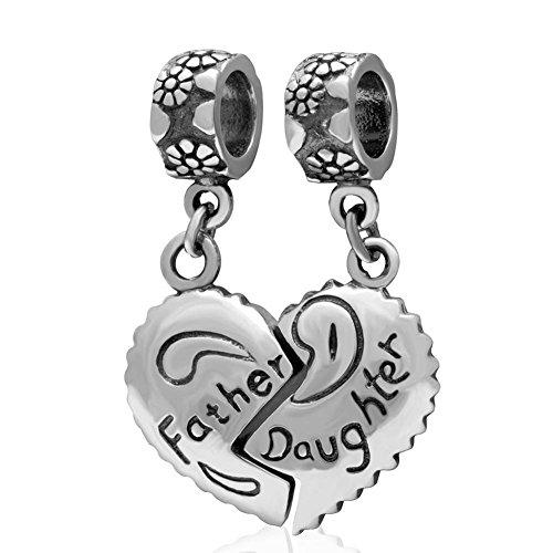 Puzzle Love Vater Tochter Herz Charms Anhänger 925Sterling Silber Dangle Bead für Väter Geschenke passt für europäische Kette Armband (Vater-tochter-armband-charms)