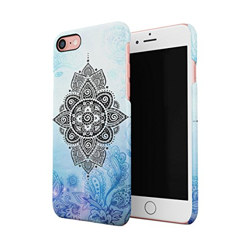 Henna White Lotus Blossom White Ink Splash Dünne Rückschale aus Hartplastik für iPhone 7 & iPhone 8 Handy Hülle Schutzhülle Slim Fit Case cover Turquoise Mandala