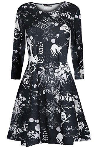 Be Jealous Kinder-mädchen Rundhals Gespenstisch Unheimlich Langärmelig Freizeit Halloween Katzen Schädel Swing Kleid Top - Cat Schädel, (Cat Halloween Kleid)