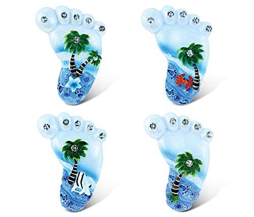 Fuß Palm Tree (Verwirrt, Fuß Kühlschrank Blau Sand Magnet–Strand Thema–Set von 4–Einzigartige erschwingliches Geschenk und Souvenir–Artikel # methyl blue)