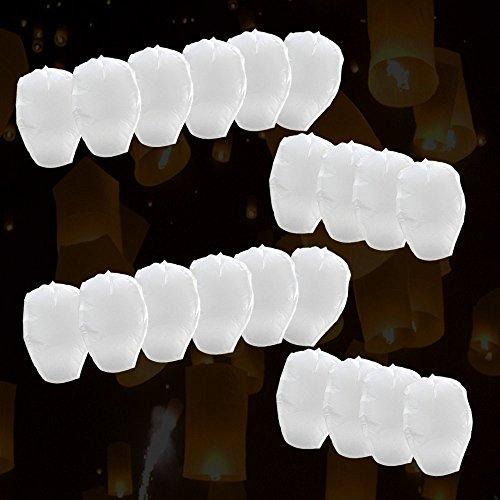 Flylinktech-Juego de 10farolillos de papel voladores para fiestas y momentos románticos y mágicos, como bodas, blanco