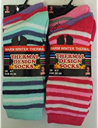 Ladies/Womens Thermal Winter Socks With Pattern STRIPS 12 pairs