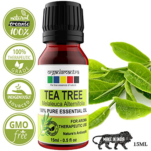 Organix Mantra Tea Tree Essential Oil For Skin, Hair, Face, Acne Care, 15Ml Pure, Natural And Undiluted Therapeutic Grade Essential Oil