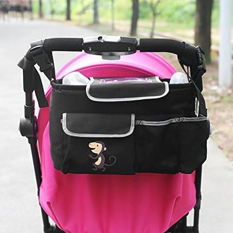 NuoYo Bocideal - Cochecito de Bolsa de Bebé Organizador, poner Buggy Cesta Botella Bolsas, Baby Carriage and Hanging Bag for the children, El Patrón es Un Mono.