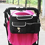NuoYo Baby Kinderwagen Organizer,Buggy Organizer,Abnehmbarer Schultergurt Umhängetasche,Tough Fabric,Wasserdicht,Affe Schwarz