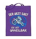 Hochwertiger Jutebeutel (mit langen Henkeln) - Motocross Shirt · Dirtbike · Geschenk für Enduro Fahrer · Spruch: Es ist unheilbar (Blau)