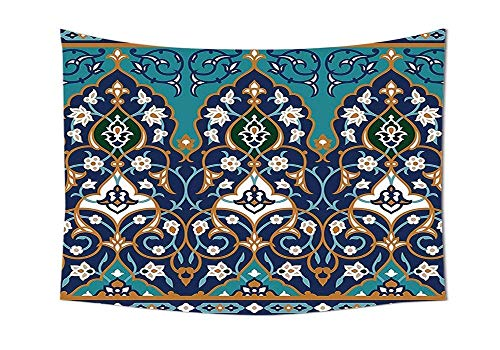 daawqee Moroccan Tapestry Ottoman Folkloric Art Inspired Abstract Aged Middle Age Renaissance Artful Print Wall Hanging for Bedroom Living Room Dorm Navy Blue Unique Home Decor