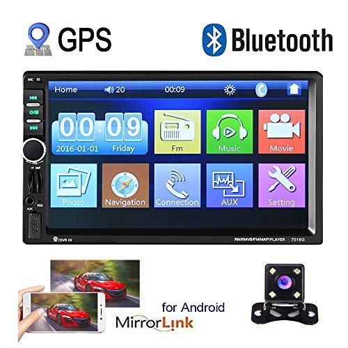 Autoradio Auto GPS 2 Din Camecho 7 pollici Touch Screen Auto Stereo lettore Video Bluetooth Dulica Schermo per Androide Telefono con porta USB AUX SD + Telecamera posteriore
