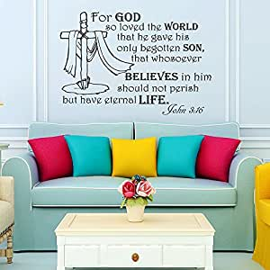Wall Decals Quotes For god so loved the world... John 3:16 Bible Verse Vinyl Sticker Wall Decor Murals Wall Decal by DecorimDecorWallDecal