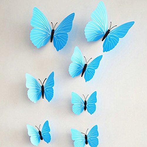 Nautische Außenwand (Zantec Wandaufkleber, 12pcs Simulieren 3D Schmetterling Wandaufkleber mit Magnet Elegante Bunte Wandbild Dekoration für Kühlschrank Computer TV Hintergrund Wand Wohnzimmer Schlafzimmer)