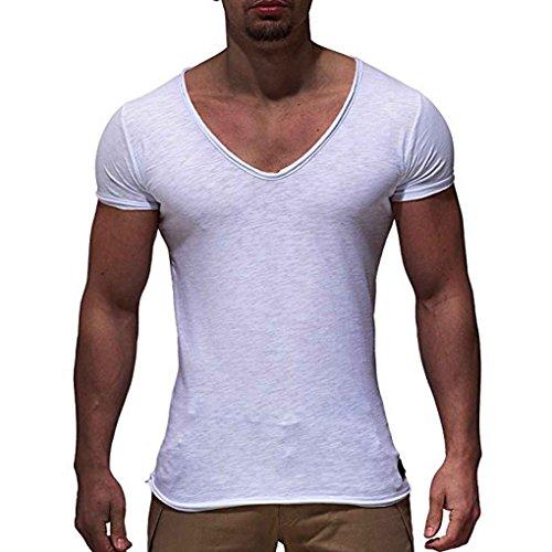 Luckiests V-Ausschnitt Männer Sommer-beiläufigen Sport-T-Shirts Modell atmungsaktiv Fitness Laufen mit kurzen Ärmeln Street Top -