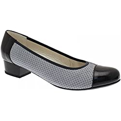 Alpina Women's 2 Tone Low Heel Court Shoe 5.5 Navy Multi