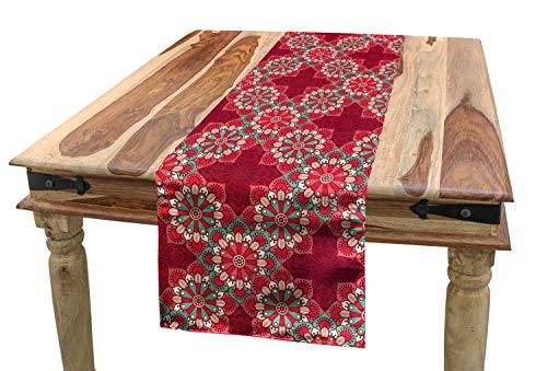 ABAKUHAUS Mandala Tischläufer, Runde Volksverzierungen, Esszimmer Küche Rechteckiger Dekorativer Tischläufer, 40 x 180 cm, Seafoam Pfirsich Rosa (Seafoam Tischdecken)