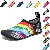VIFUUR Scarpe da sport acquatici Barefoot Quick-dry Aqua Yoga Slip Slip-on per Uomo Donna Bambino arcobaleno EU 44-45