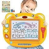 Peradix Pizarra Magnética Infantil, 3 Stampers & Pluma Mágica , Grande Color magnético Doodle Sketch Pad, Almohadilla Borrable de Escritura y Dibujo para niños 3 años y más, 43 x 35CM Juguete