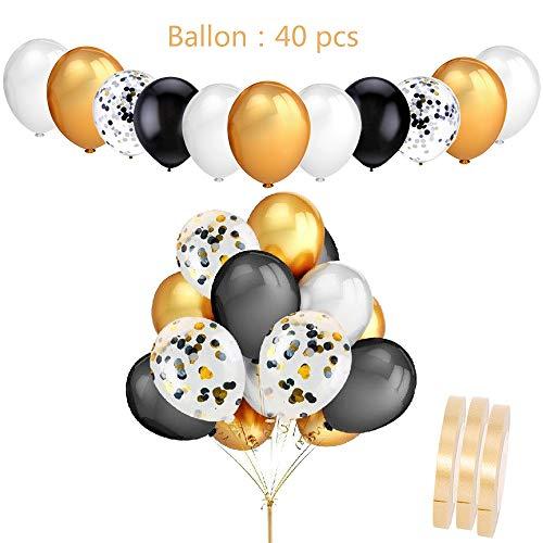40 Stück Bunt konfetti Luftballons Schwarz Gold Silber Set,12