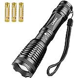 Linkax Taschenlampe LED Akku Zoombar Superhelle Taktische LED Camping Handlampe 800 Lumen und 5 Modis Einstellbar Mit einstellbarem Fokus(inklusive 3 AAA Batterie)