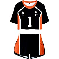 Anime Cosplay Costume T-Shirt Shorts Suits for Haikyuu Karasuno High School Girls Club Outfits Top and Short Pants Sets…
