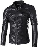 jeansian Uomo Retro Pelle Rivestimento del Motociclo Moda Giacca Cappotto Overcoat Jacket 9569 Black L