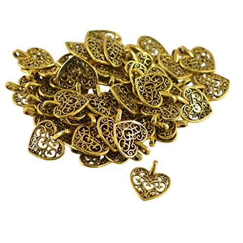 MagiDeal 50pcs Filigree Hollow Heart Cut Pendant Charms Jewelry Making Findings DIY