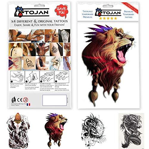 Tatuaggio temporaneo animali : set di 4 grandi modelli tatuaggi originali di leoni (2 leoni stile differenti: con inchiostro nero e uno colorato), drago cinese, buddha elefante per uomo / donna