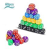 Dados multicolor KATOOM 60pcs Dado de acrílico con seis colores y...
