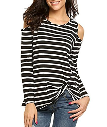 AILIENT T-shirt Femme Mode Casual Vrac Tunique Top Shirt Col Rond Manches Longues Bretelles RayÉ Elastique Pull Tops Blouse Haut Black