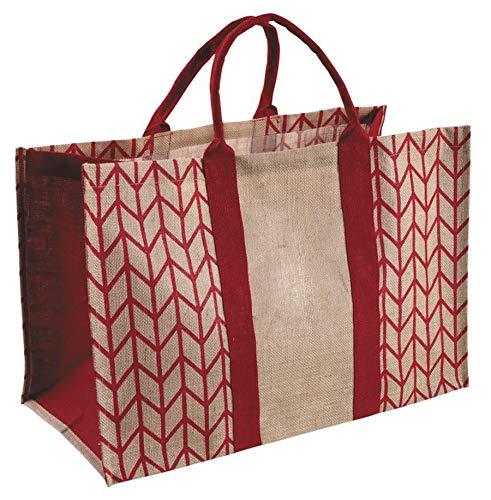 PEGANE Sac à bûches en Jute plastifiée, Coloris Rouge et Beige - Dim : 60 x 30 x 40 cm