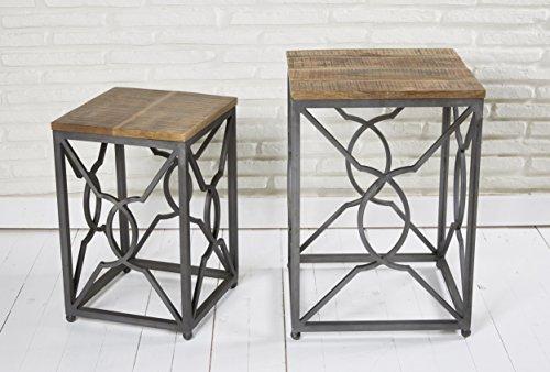 2er Set Beistelltische Satztische Couchtische Wohnzimmertische Holz Metall im Retro- bzw. Industriedesign