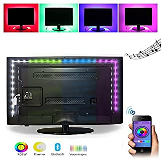 Elinkume® RGB LED Strip Light, Wireless Bluetooth APP Control, 2M/6.56ft USB Powered for Desktop Monitor TV Screen Backlight (Suit for Android, IOS)