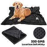 Allisandro Waschbare Hundedecke(100x78cm, Schwarz) luxuriöse Katzen Hunde Kuscheldecke Decke Hundematte Soft weiche zweiseitige Flauschige Haustier-Decke