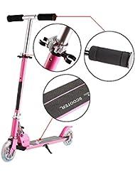Tomasa Patinete Scooter Freestyle Roller 67cm Ajustable Altura 63-85cm Patinete Plegable con Luces LED Ruedas para Niños de 4-8 Años (Rosa)