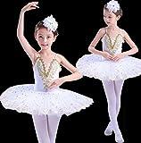 HUOFEINIAO-Abbigliamento da ballo Balletto Sling per Bambini Balletto Swan Lake Puff Balletto per Bambini con Paillettes Tutu, 150cm, White