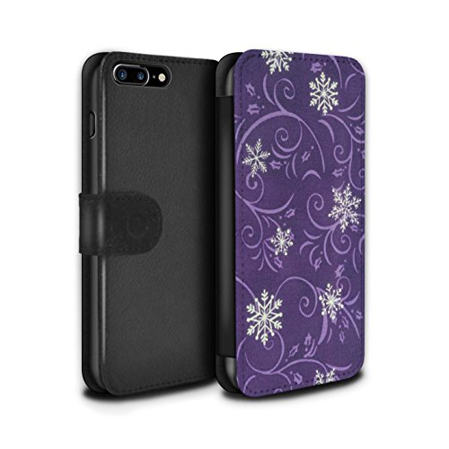Stuff4 Coque/Etui/Housse Cuir PU Case/Cover pour Apple iPhone 7 Plus / Turquoise Design / Motif flocon de neige Collection Pourpre