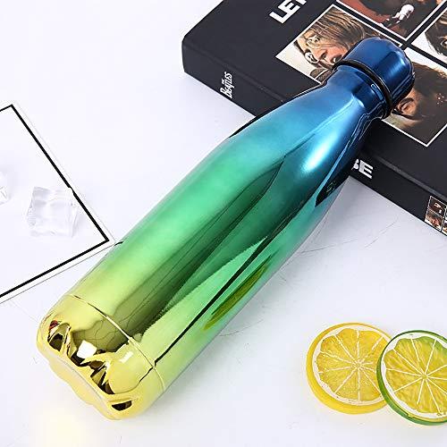 LOHOX Farbverlauf Vakuum Isolierte Edelstahl Trinkflasche Edelstahl Doppelwand Wasserflaschen 500 ml auslaufsicher halten kalte und heiße Getränke Flasche für Outdoor-Sport Camping (Heißes Getränk-flasche)