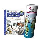 Ravensburger Bambini Saggistica 4-7 Anni Tutto circa Ferrovia + Mappa del mondo di bambini di Collectix
