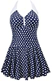 Eudolah Damen Retro Vintage Einteiliger Badekleid V Ausschnitt Badeanzug mit Röckchen (2XL (EU 40-42), blau Punkte-3)