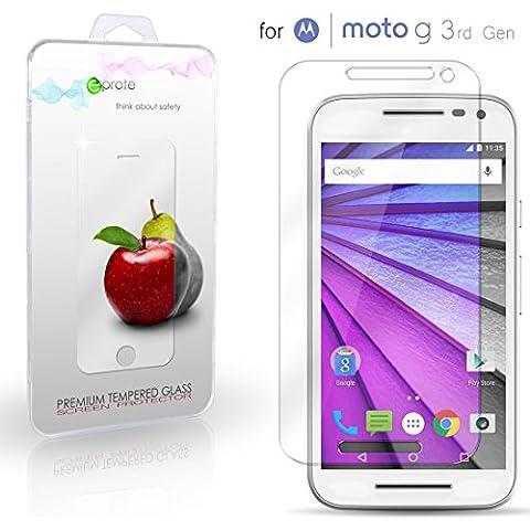 Motorola Moto G (3rd gen) Cristal Protector de pantalla, eProte® Vidrio Templado para Moto G (Gen 3), Moto G3, 5.0 pulgadas - Dureza del vidrio 9H, Anti-golpe, Anti-rayado, Revestimiento oleofóbico, anti-huellas dactilares, Fácil de limpiar, Transparencia HD y Delicado al tacto, Espesor óptimo de 0.33 mm, los bordes redondeados de 2.5D