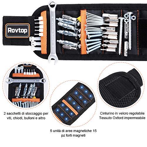 Rovtop Polsiera magnetica con 15 Magneti Robusti, Braccialetto Magnetico, salva le mani, fissa facilmente viti, chiodi, punte da trapano, ecc, Adatto per uomini e donne, attrezzi e regali fai da te - 4