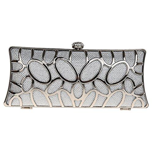 MNBS Damen Abendtasche Clutch Handtasche Metall mit Strass Schnallverschluss auffällig in 4 Farben Silber