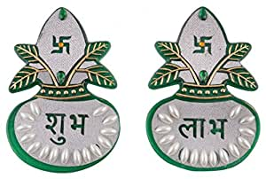 Aayam Design and Solutions acrylic Shubh and Labh Kalash Sticker (7 cm x 10 cm x 0.1 cm, Green and silver)