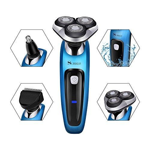 Foto de SURKER Maquinilla de Afeitar Electrica Afeitadora Barba Resistente al Agua Multifunción y Tres cabezas Giratoria