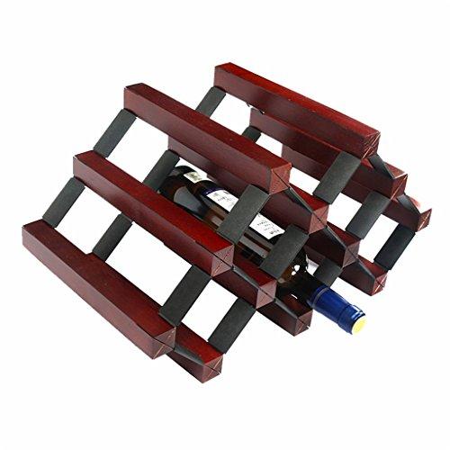 JIA JIA HOME- Étagères à vin en bois debout et en métal en acier naturel armoire en bois naturel sur table armoire à vin rangement décoration étagère à vin organisateur de bouteilles de vin design rétro, peut contenir 6 bouteilles - L43 X W23.5 X H22.5 cm ( Couleur : Rouge foncé )