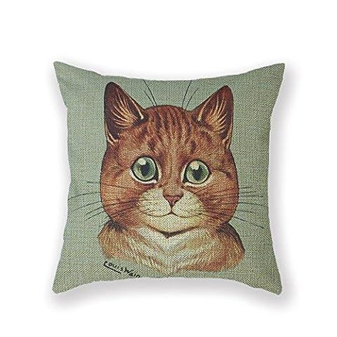 Customized Standard New Arrival Pillowcase Cat Orange Tabby Cat Louis Wain Wain Throw Pillow 18 X 18 Square Cotton Linen Pillowcase Cover