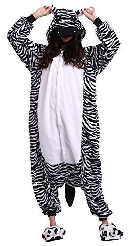 CuteOn Unisex Erwachsene Cartoon Tier Kigurumi Pyjamas Nachtwäsche Mit Kapuze Cosplay Kostüm Zebra S for Höhe - Zebra Strampelanzug Kostüm