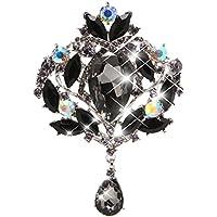 Xuniu Fashion Brosche, wunderschöne Blume Floral Tear große Tropfen Brosche Glas Teardrop Anhänger für Party, Geburtstagsgeschenk schwarz