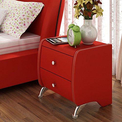 FJIWDTGYHFGT Moderne minimalistische nachttische,Schlafzimmer schließfächer,Weißes Leder Bett beistelltische,Nachtschränke-B 50x40x48.5cm(20x16x19inch)