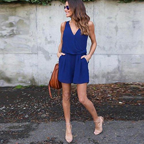 Tonsee Femmes Mousseline de Soie Sans Manches Plage Jumpsuit Été Party Short Mini robe Bleu