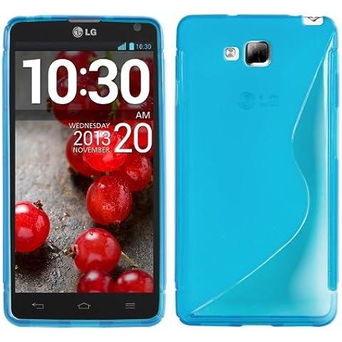 kwmobile FUNDA de TPU silicona para LG Optimus L9 II Diseño línea en S azul transparente - Estilosa funda de diseño de TPU blando de alta calidad